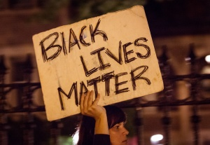 """Black lives matter"" sign at Philando Castile protest in St. Paul, MN"