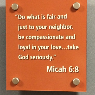 Micah 6:8 displayed in the Bethel Business department