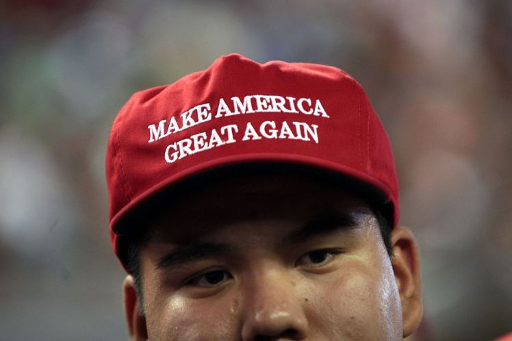 "Trump supporter wearing ""Make America Great Again"" cap"