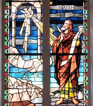 Stained glass of Isaiah receiving a vision from God