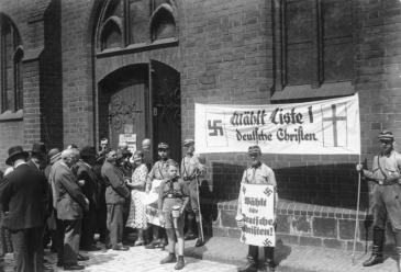 SA members promoting the German Christians at church elections in 1933