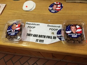 "Sign for chocolate candy at a general store: ""Republican Poop, Democrat Poop - They are both full of it"""