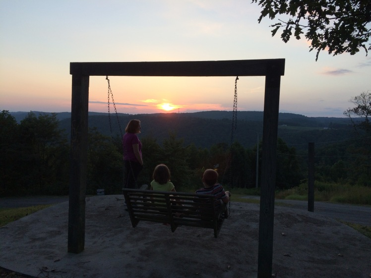 Katie and the kids watching the sunset near Fancy Gap, VA