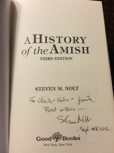 Steve Nolt's signature on his History of the Amish