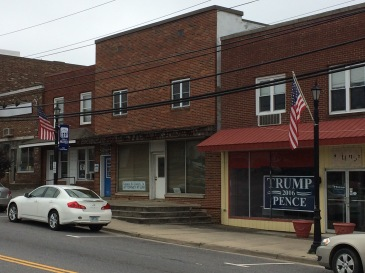 "Trump sign in the ""historic"" district of Hillsville, VA"