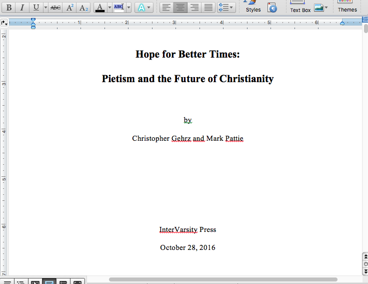 Screen shot of the manuscript for our new book on Pietism and the future of Christianity