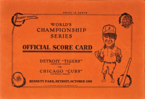 1908 World Series score card