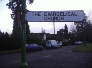 "Sign in England (?) reading, ""The Evangelical Church"""