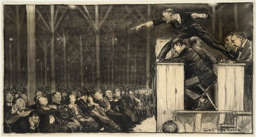 Drawing of Billy Sunday preaching (1915)