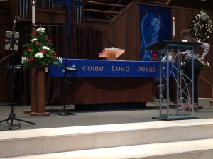 """Come, Lord Jesus"" on the Communion table of a Lutheran church"