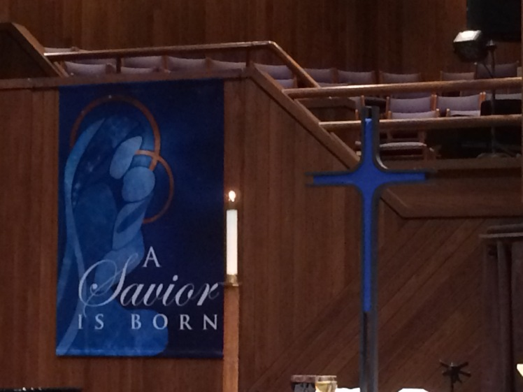 """Blue Christmas"" cross at Nazareth Lutheran Church"