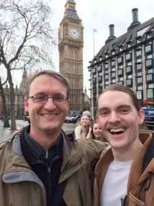 Connor Larson and Chris in front of Big Ben