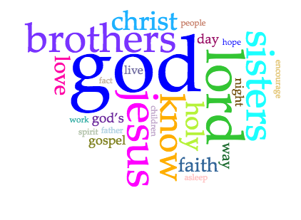 Voyant word cloud created by the NIV text of 1 Thessalonians