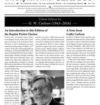 The cover page of the Feb. 2017 issue of The Baptist Pietist Clarion