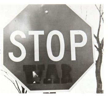 """Stop War"" (1968 sign on the Bethel campus)"