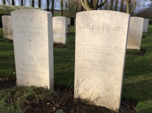 Chinese and Indian graves at military cemetery in Belgium