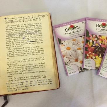 Glen's book of worship, seeds, and gardening gloves