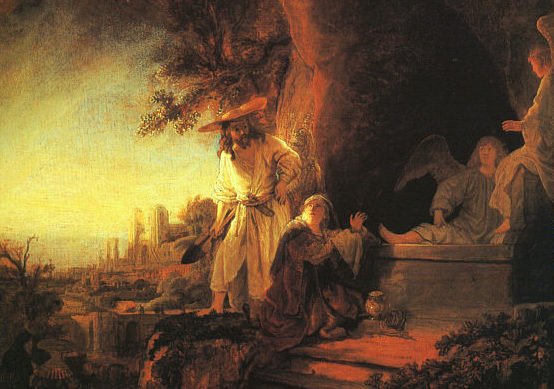 Detail of Rembrandt's painting of the Risen Jesus appearing to Mary Magdalene in the garden