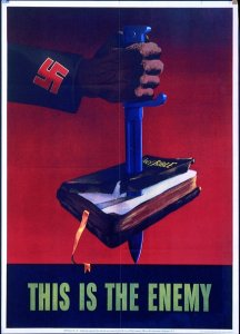 """This is the enemy"" — WWII propaganda poster showing a Nazi knife stabbing a Bible"