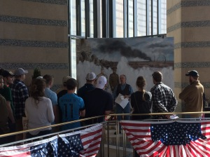 David Geister with Bethel students at WW1 America mural