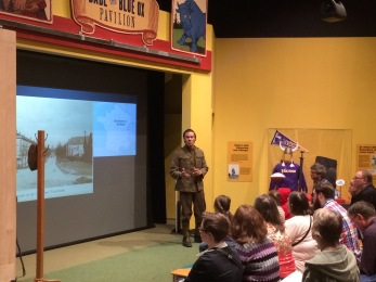 Actor delivering monologue of African American soldier from WWI
