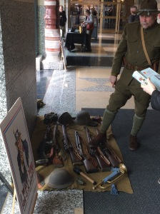 WWI reenactor with period rifles