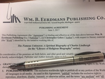 Contract with Eerdmans to write a spiritual biography of Charles Lindbergh