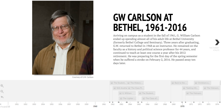 Screenshot of GW Carlson timeline