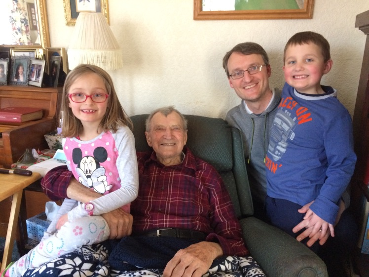 Our twins with Grandpa and me