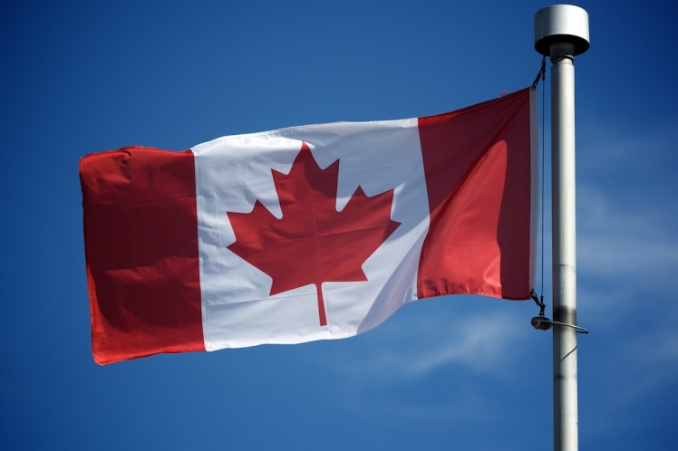 Canadian flag flying