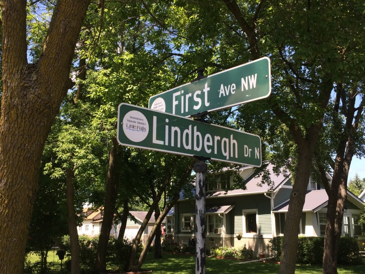 Lindbergh Drive street sign in Little Falls, MN