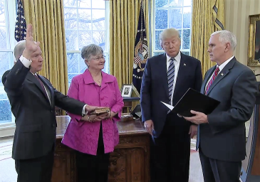 Jeff Sessions being sworn in as Attorney General by Mike Pence