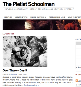 Pietist Schoolman homepage on July 1, 2011