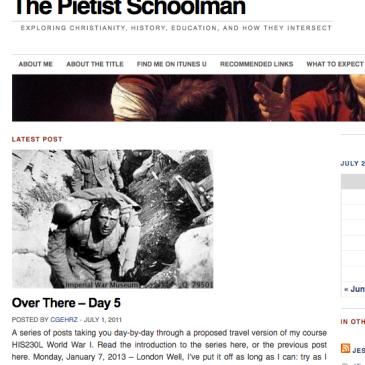 Pietist Schoolman homepage on July 1, 2011