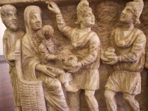 Three magi on 3rd century sarcophagus
