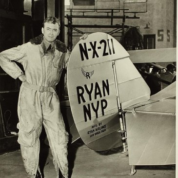 Jimmy Stewart as Charles Lindbergh, with a replica of the Spirit of St. Louis