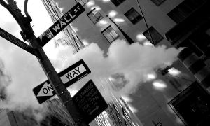 Street sign of Wall St in New York