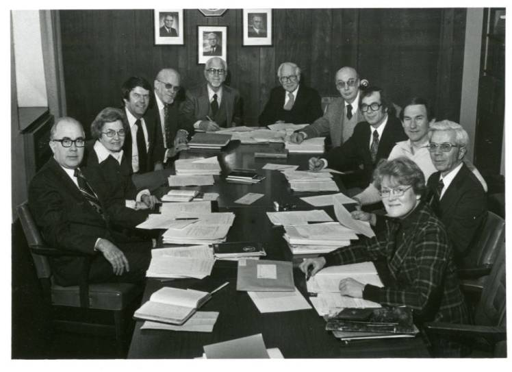 Glen Wiberg, Jim Hawkinson, and other members of the Covenant's Book of Worship committee in 1978
