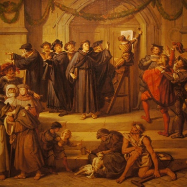 Painting of Luther posting the 95 Theses