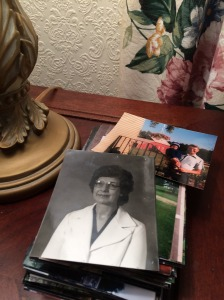 Pictures of Grandma and Grandpa on a side table