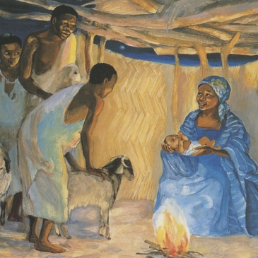"Jesus Mafa, ""The birth of Jesus with the shepherds"""
