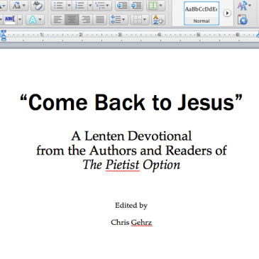 "Screen shot of ""Come Back to Jesus"" title page"