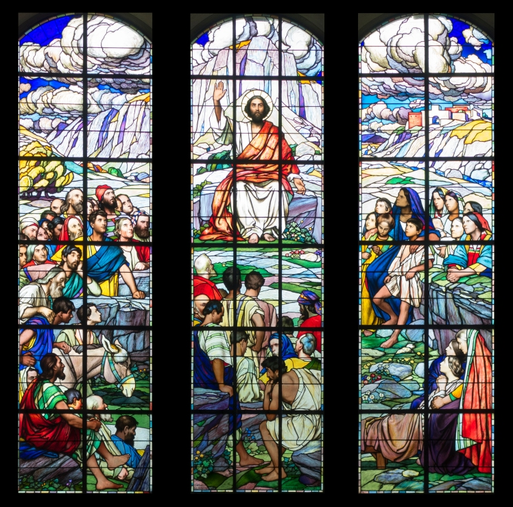 Sermon on the Mount stained glass in Switzerland