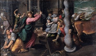 Scarsellino's painting of the cleansing of the Temple
