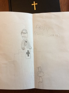 My daughter's drawing of me preaching