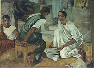 Jesus washing his disciples' feet