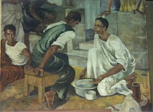 Jesus washing his disciples' feet
