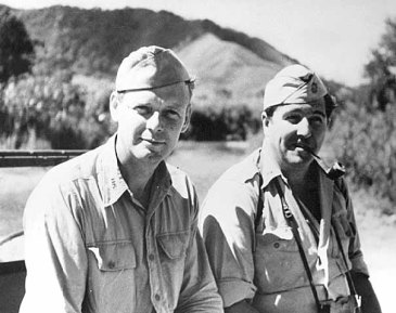 Lindbergh with a fellow pilot in the South Pacific