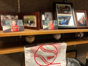 Family pictures and baseball memorabilia
