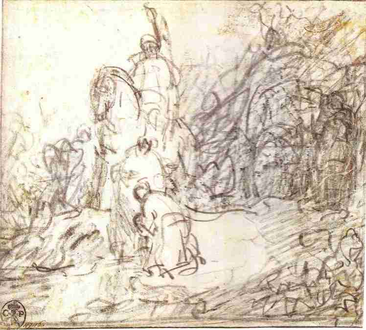 Rembrandt, sketch of the Baptism of the Eunuch